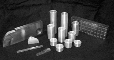 Ultrasonik muayenede kullanılan çeşitli kalibrasyon blokları